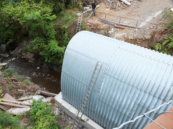A new culvert being installed on the Pinmullan Burn upstream of the waterfall