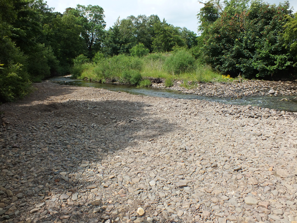 The gravel extraction site after it was 'restored' 4 weeks ago. Before bailiffs intervened, the entire river was left flowing through mounds of gravel.