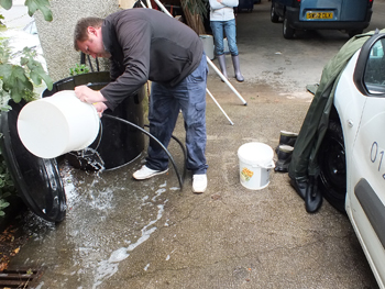 Gordon disinfecting the equipment and nets before we set off.