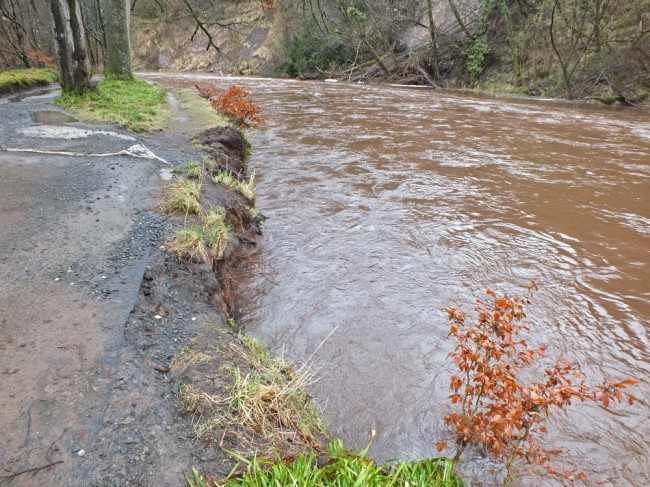 Erosion on the left bank as a result of the landslide debris on the right bank.