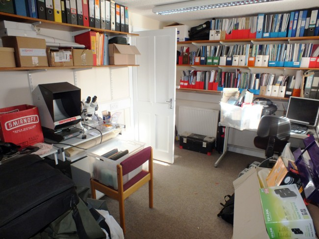 The back office where project staff are based and our scale reading facility is set up. This is also a storage area until we get our sheds sorted in the garden to the rear.