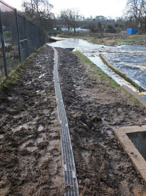 The eel pass installed beside the fish pass.
