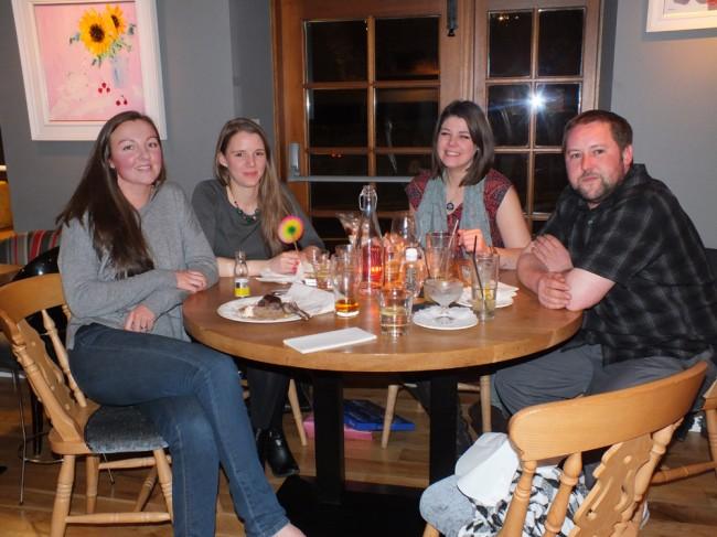 Enjoying a farewell dinner at Kirkoswald.