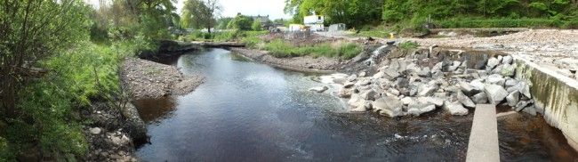 The view from the bottom end of the fish pass