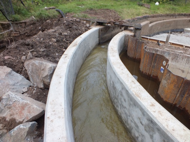 Water flowing through the new extension to the fish pass.