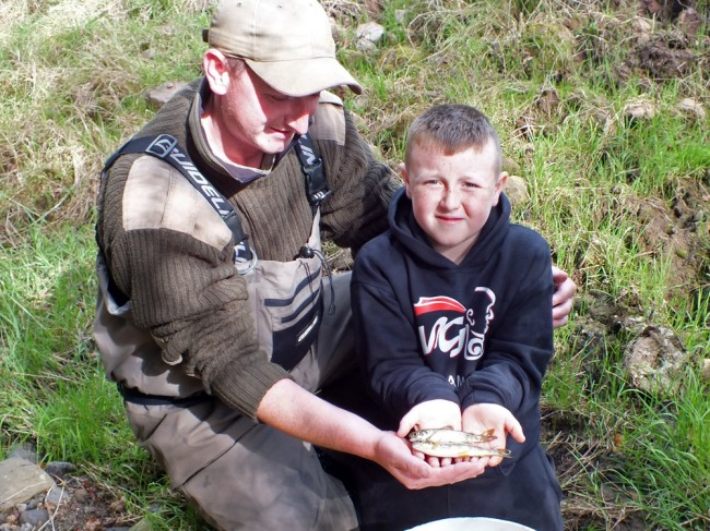 John and his son Ben holding a trout and salmon from the upper Burn Anne site. This was a memorable day for the Trust catching this salmon but I'm sure it will live in Ben's memory long after we are all departed. These are the sort of memories that stay with us all our lives.