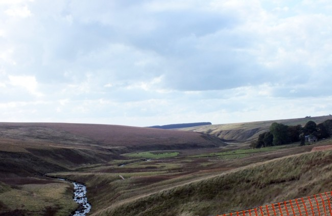 Looking back to High Dalblair and beyond to civilisation. I enjoy getting away from the normality of polluted and litter strewn rivers.