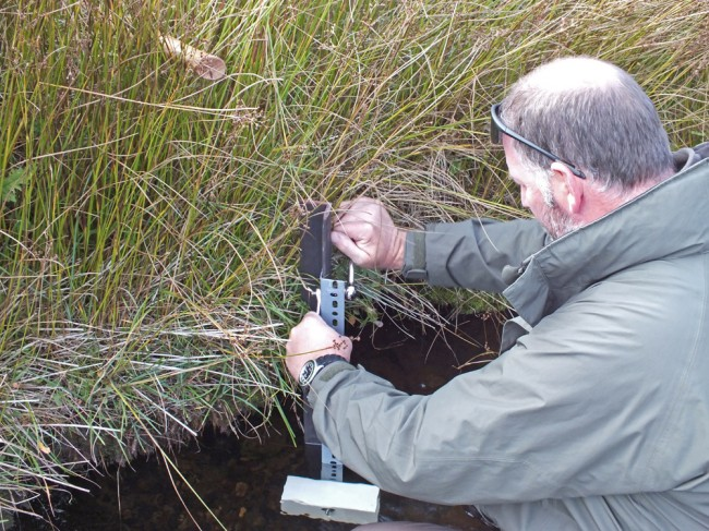 Installing the temperature data logger on the Glenmuir