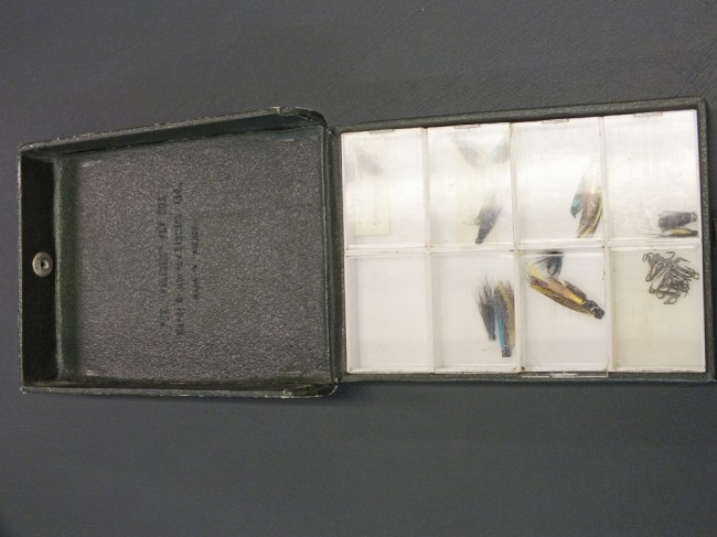 Lot 11    Vintage Hardy Invincible Fly Box in used condition with flies and hooks