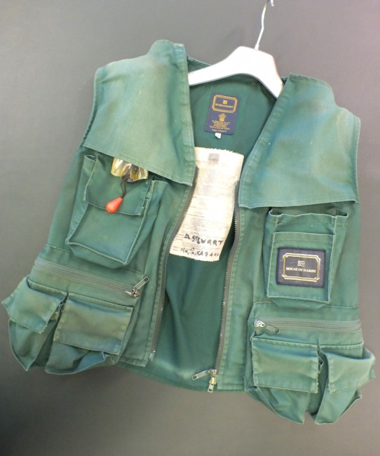 Lot 2    A well used Hardy Life jacket in medium size. This jacket / waistcoat has had a couple of repairs at seasms and the velcro on the pocket flaps is missing (possibly removed deliberately to improve access to pockets).