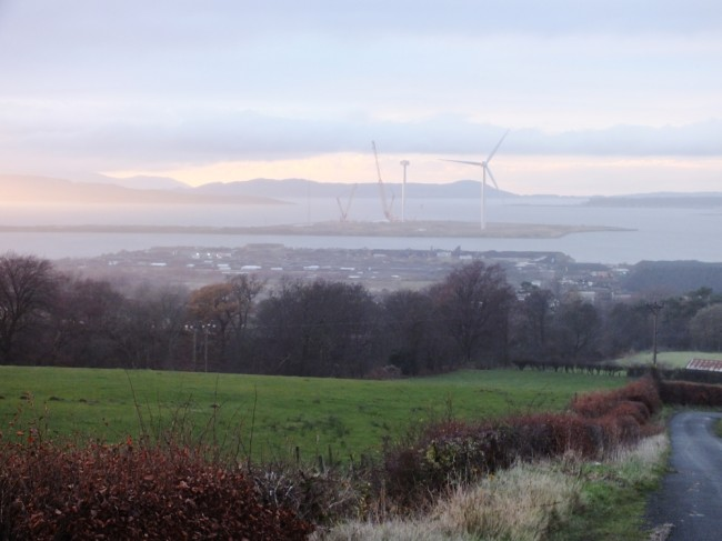 The view over the Firth of Clyde as we walked back to the van as the sun went down