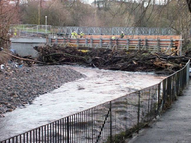 Tonnes of fallen timber wedged against the upstream end of the culverts. With this type of design, timber build up is inevitable and will require ongoing management