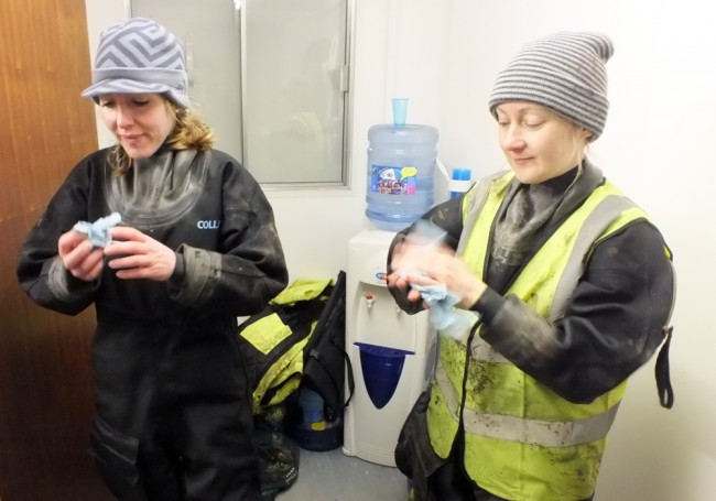 Rowan and Jackie from GFT cleaning up before lunch.