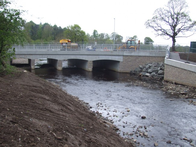 Looking downstream to the virtually completed new bridge/culver over the Kilmarnock Water. This is a huge improvement over the old ford that was a serious barrier to migration.