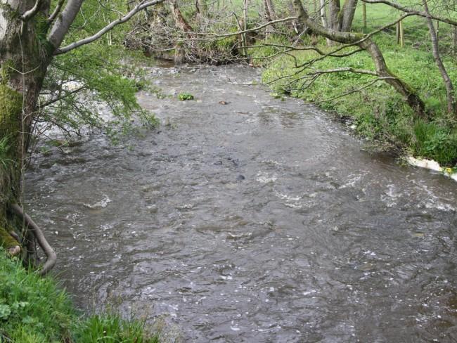 The Glaisnock downstream in Caponacre Industrial Estate