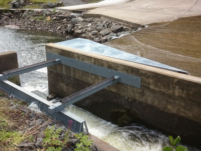 The new deflector installed at the dam