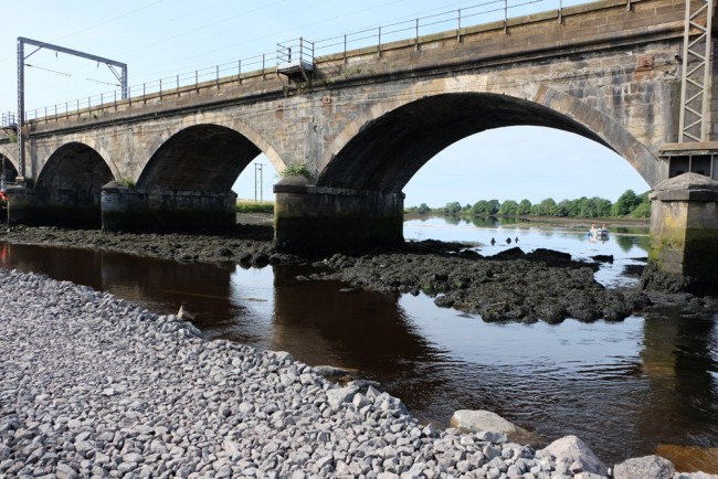 The bridge piers where scour protection is being installed.