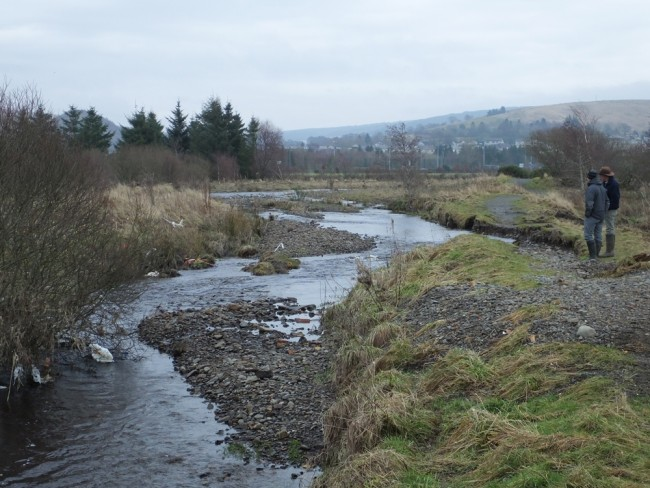 The Muck Water at Dalmellington where the footpath has eroded and the burn threatened to cut a new course towards Bogton Loch.