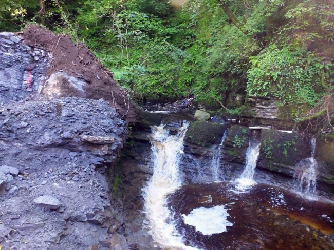 Major excavation are underway beside these falls on the lower burn. These falls were thought to be passable in certain flows