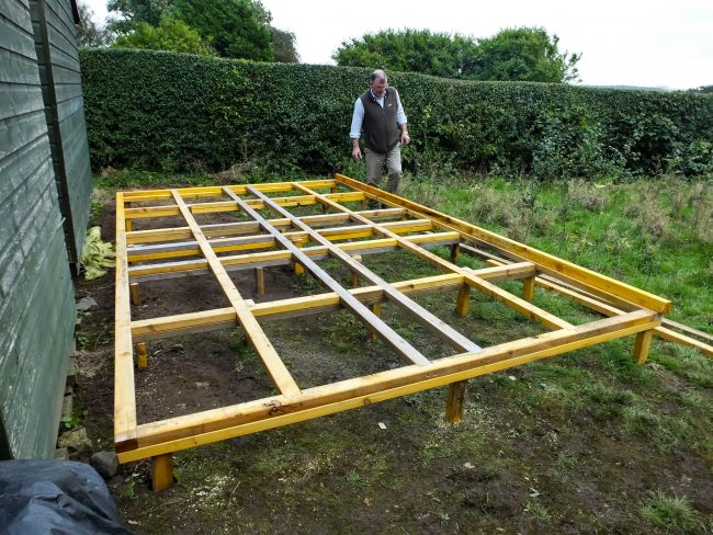 A sturdy, level frame for the shed, which will provide us with plenty more storage space.