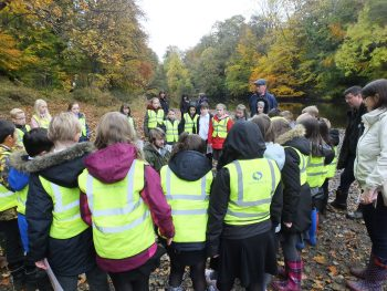 Discussing fish with Forehill Primary School on the River Ayr